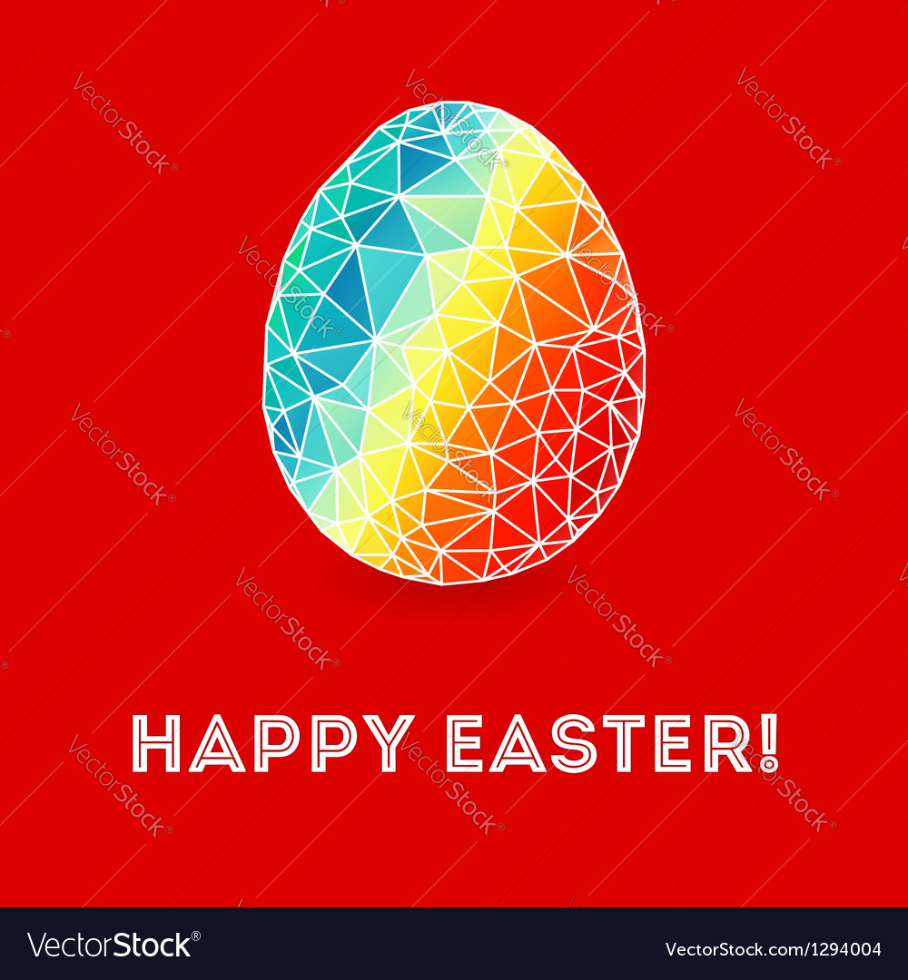 Colorful Easter egg on bright red background
