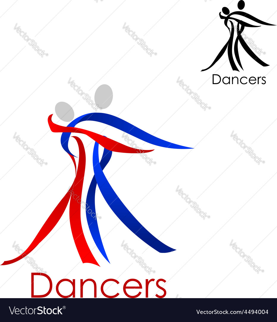 Dancing couple abstract emblem template