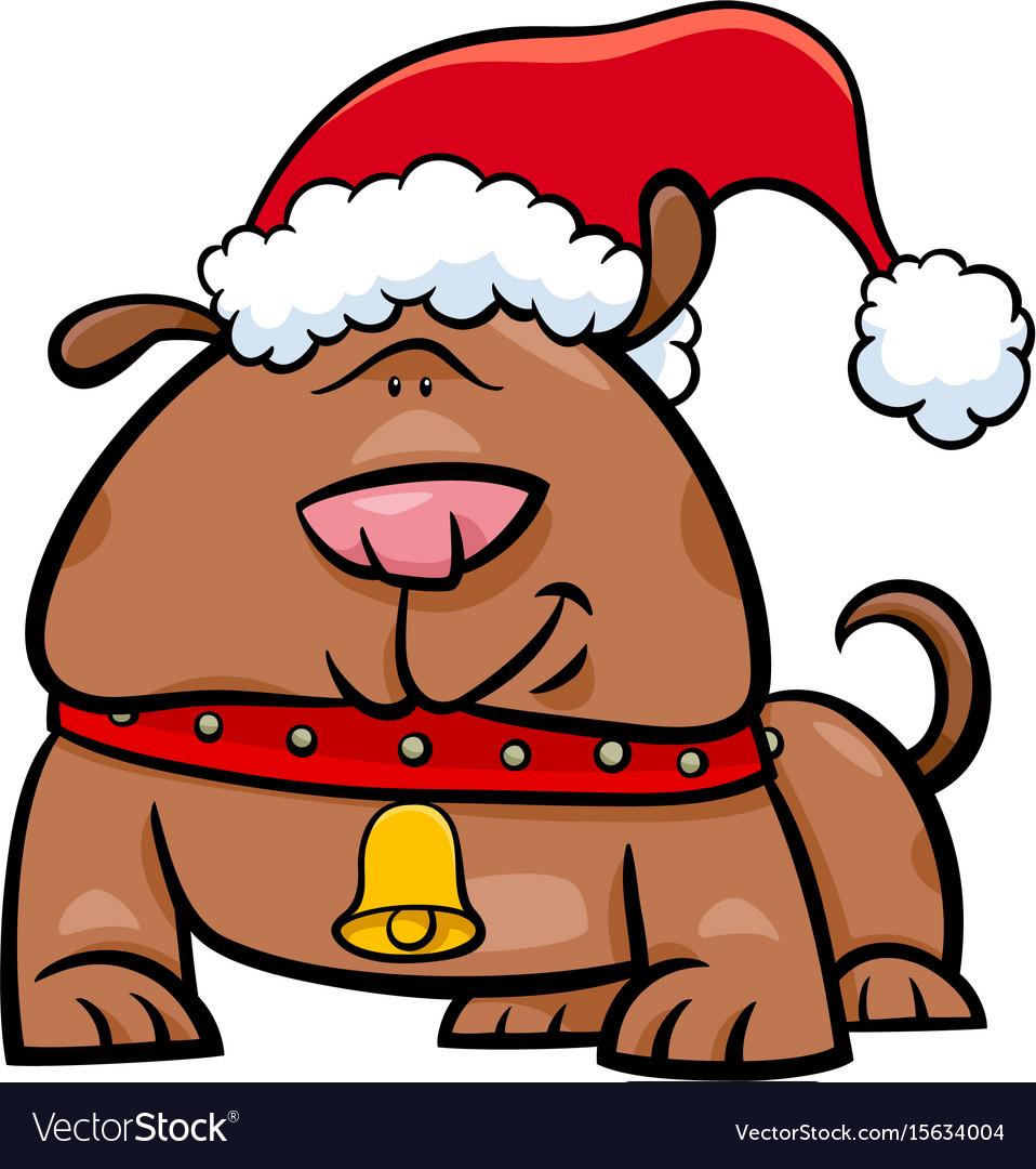 Dog on christmas time cartoon vector image