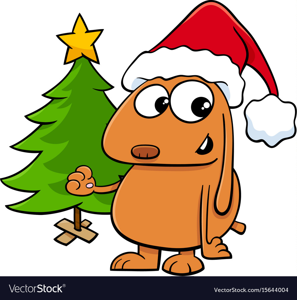Dog with christmas tree cartoon vector image