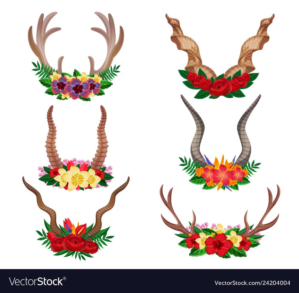 Horns ornamental floral set