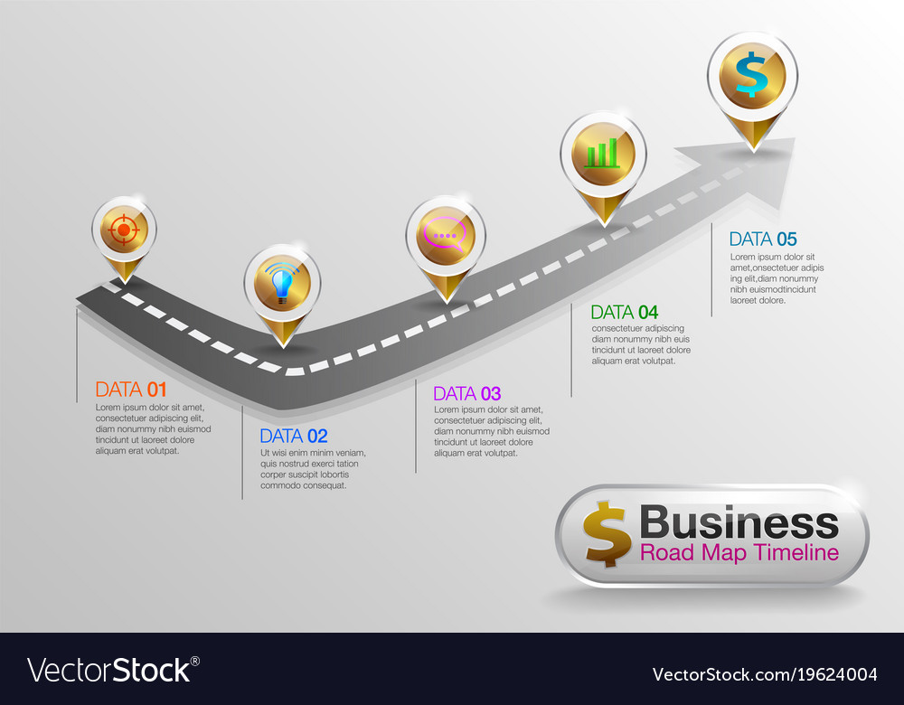 infographic business roadmap timeline ver02 vector image
