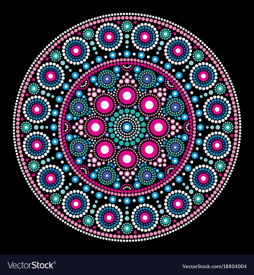 Mandala dot painting style aboriginal folk