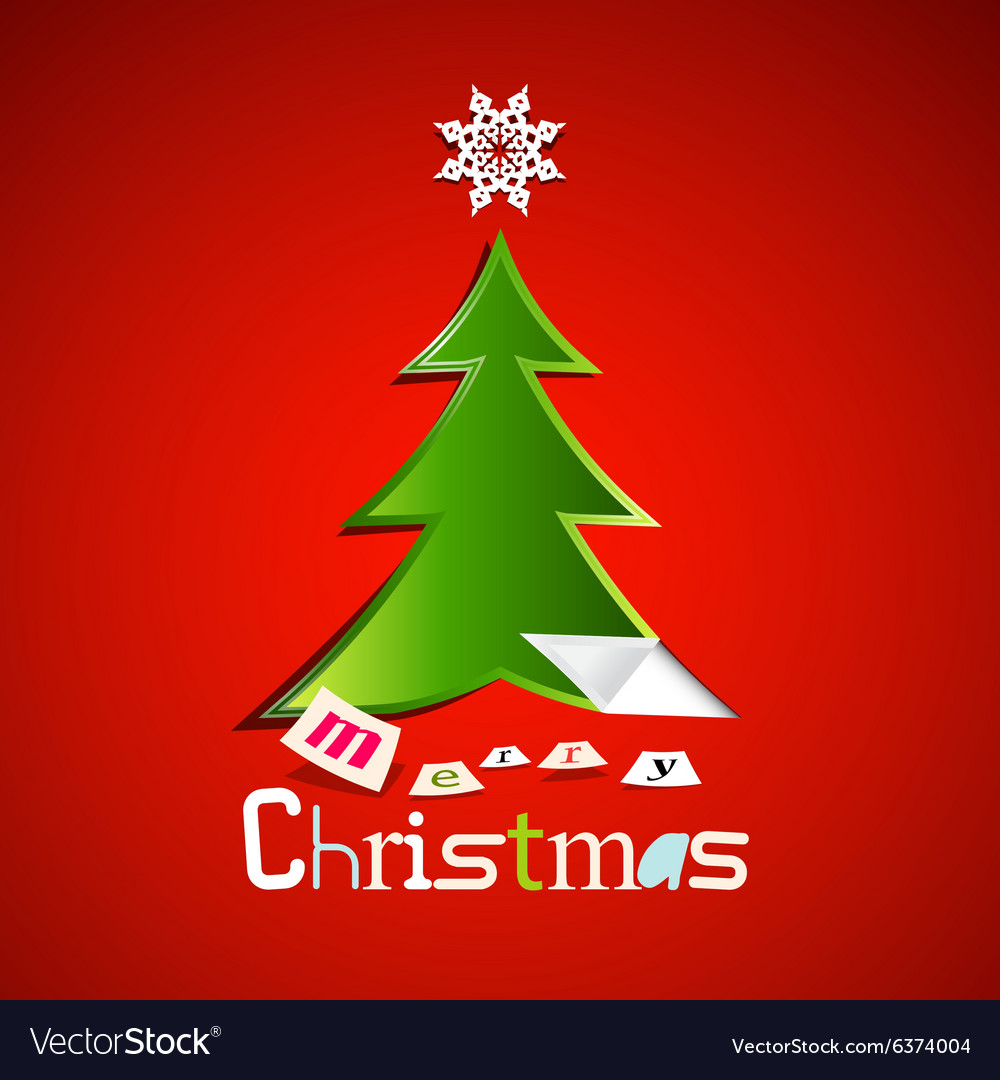 merry christmas card - green paper cut xmas tree vector image