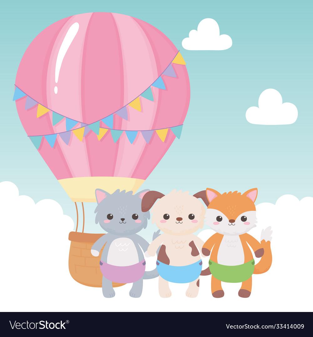 Baby shower cute animals air balloon sky cartoon