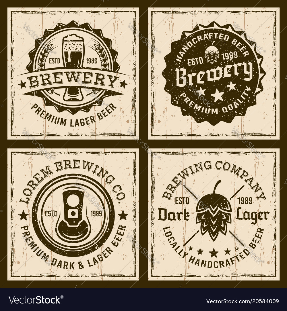 Beer and brewery four colored emblems or badges