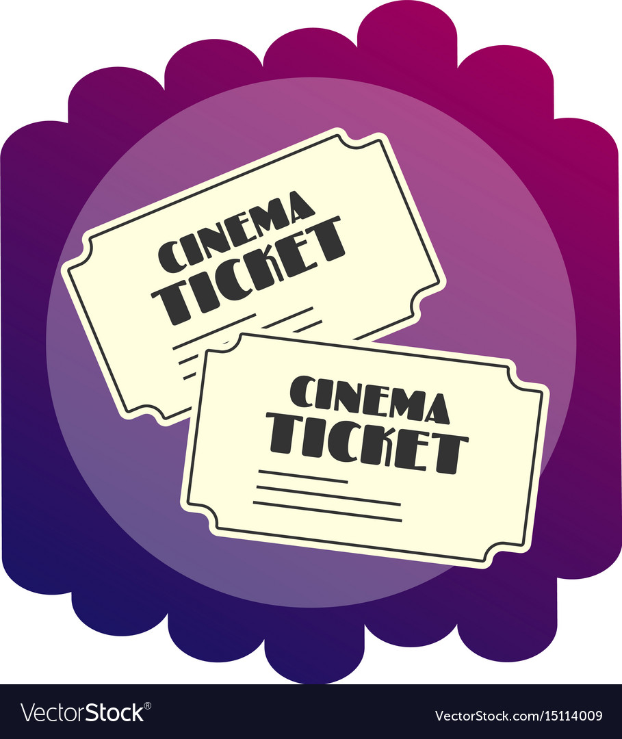 Bright flat icon tickets to the cinema watching