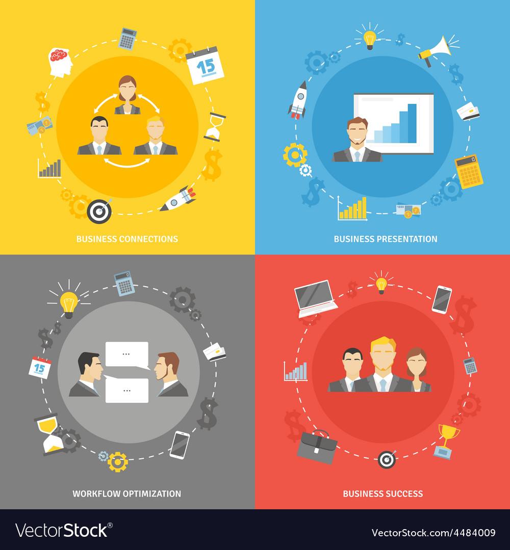 Business concept flat icons set