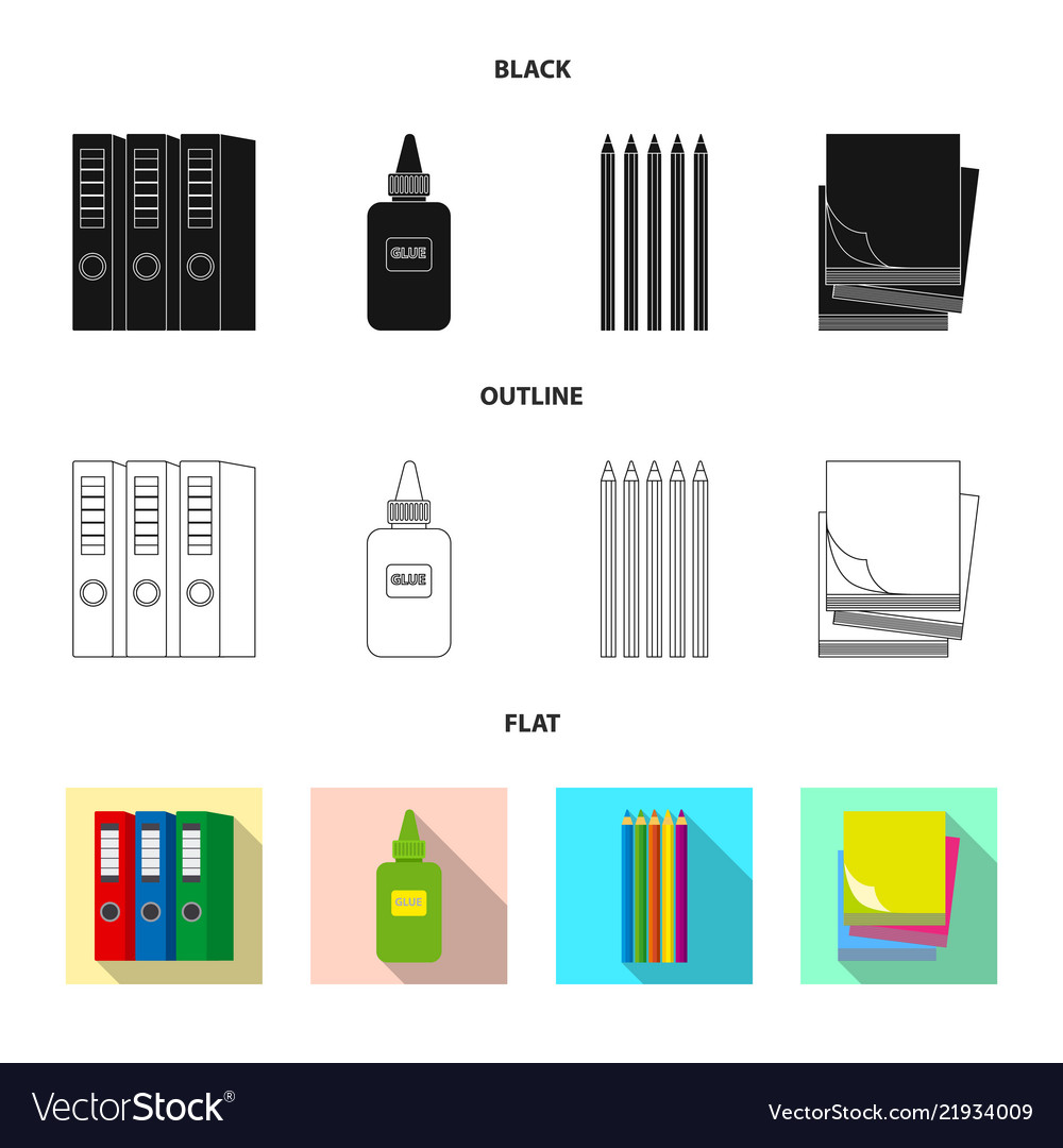 Design of office and supply icon set of