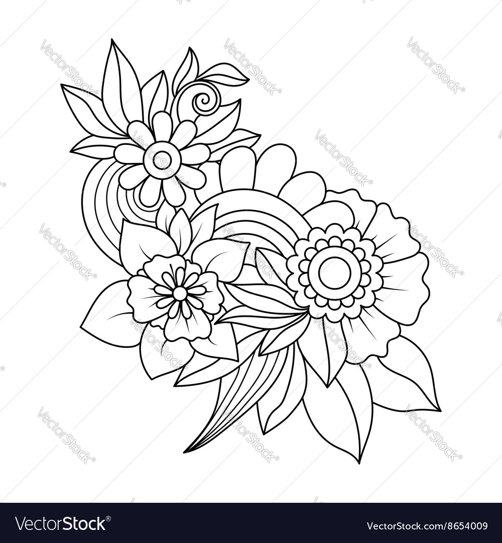 Doodle art flowers Royalty Free Vector Image - VectorStock