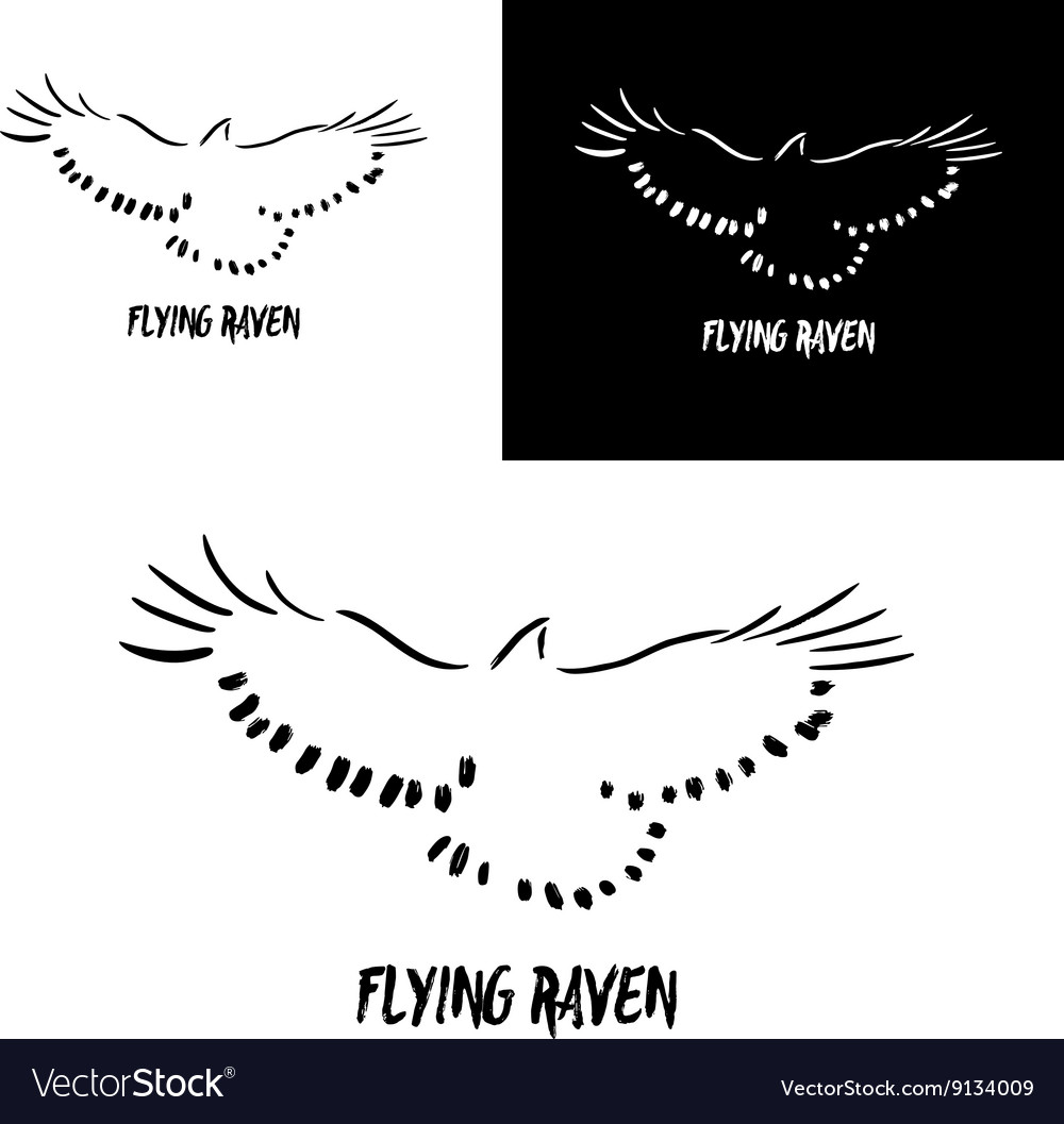 Grunge flying raven logo template