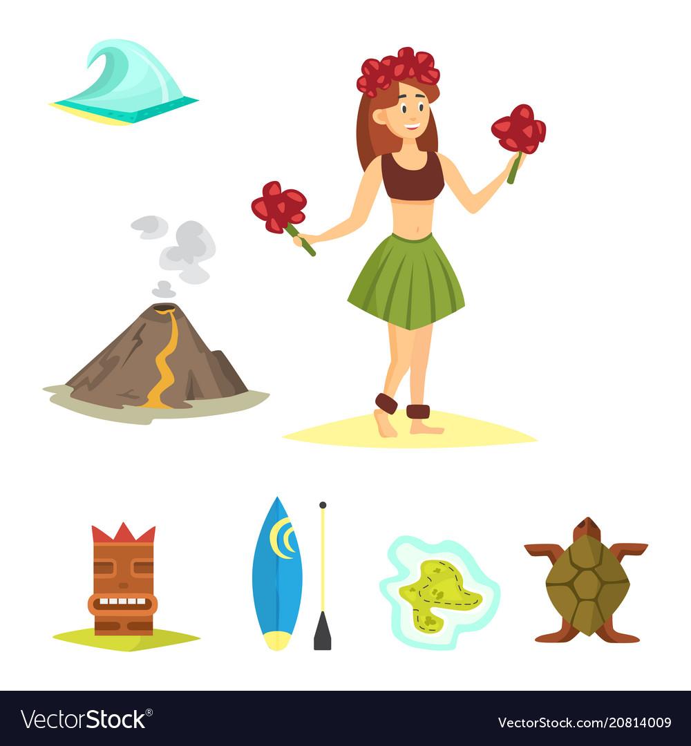 Hawaii icons dancer woman tiki gods totem pole vector image