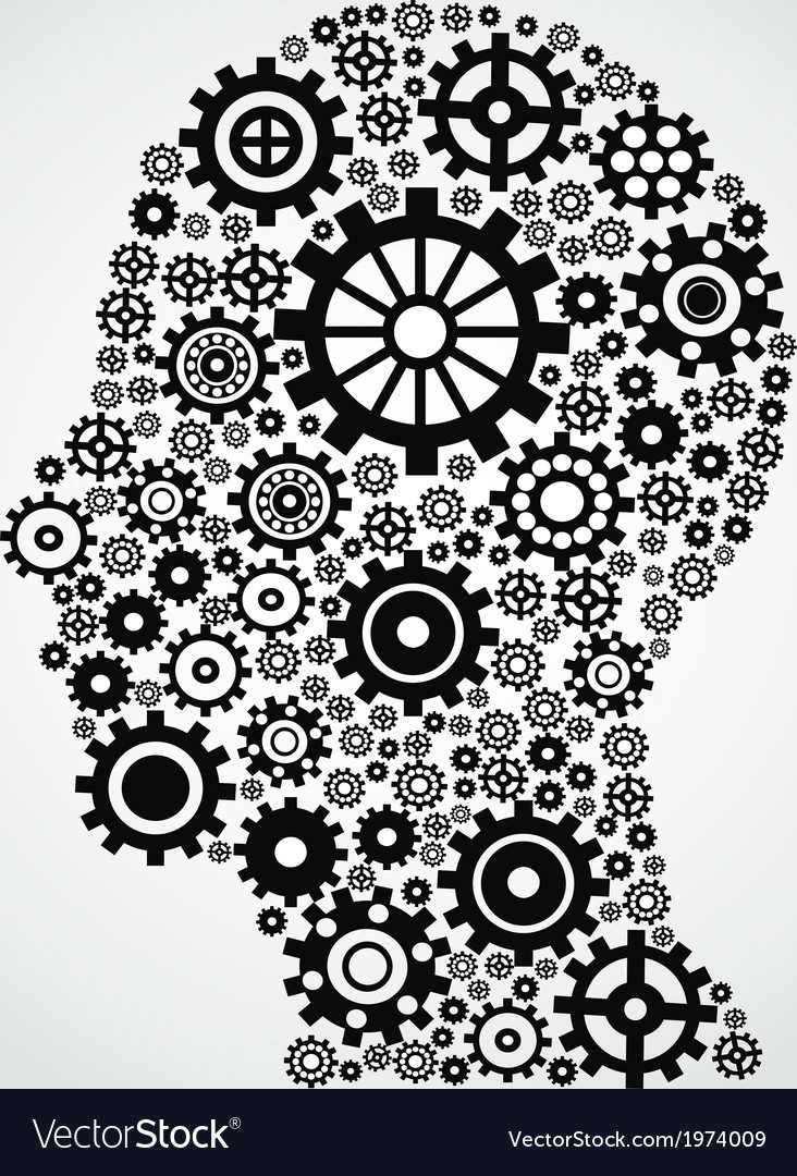Head with gears vector image