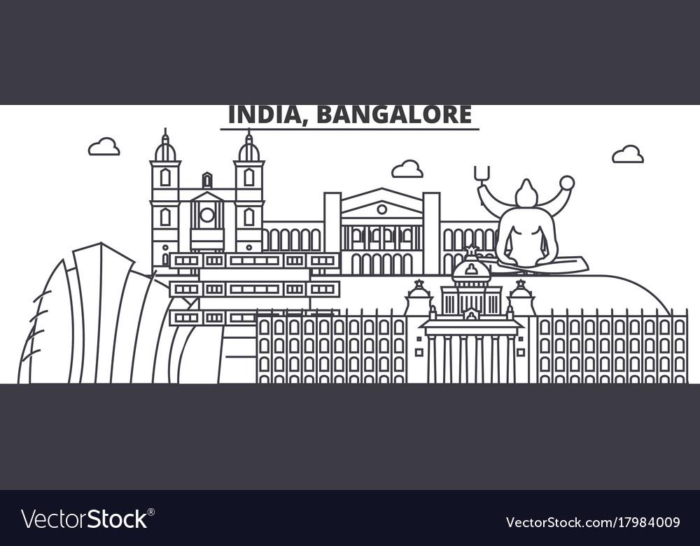 India bangalore architecture line skyline vector image