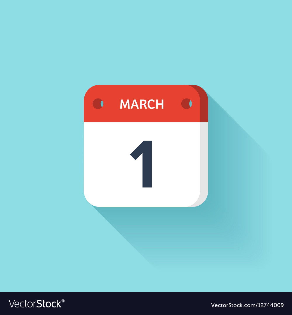 March 1 Isometric Calendar Icon With Shadow