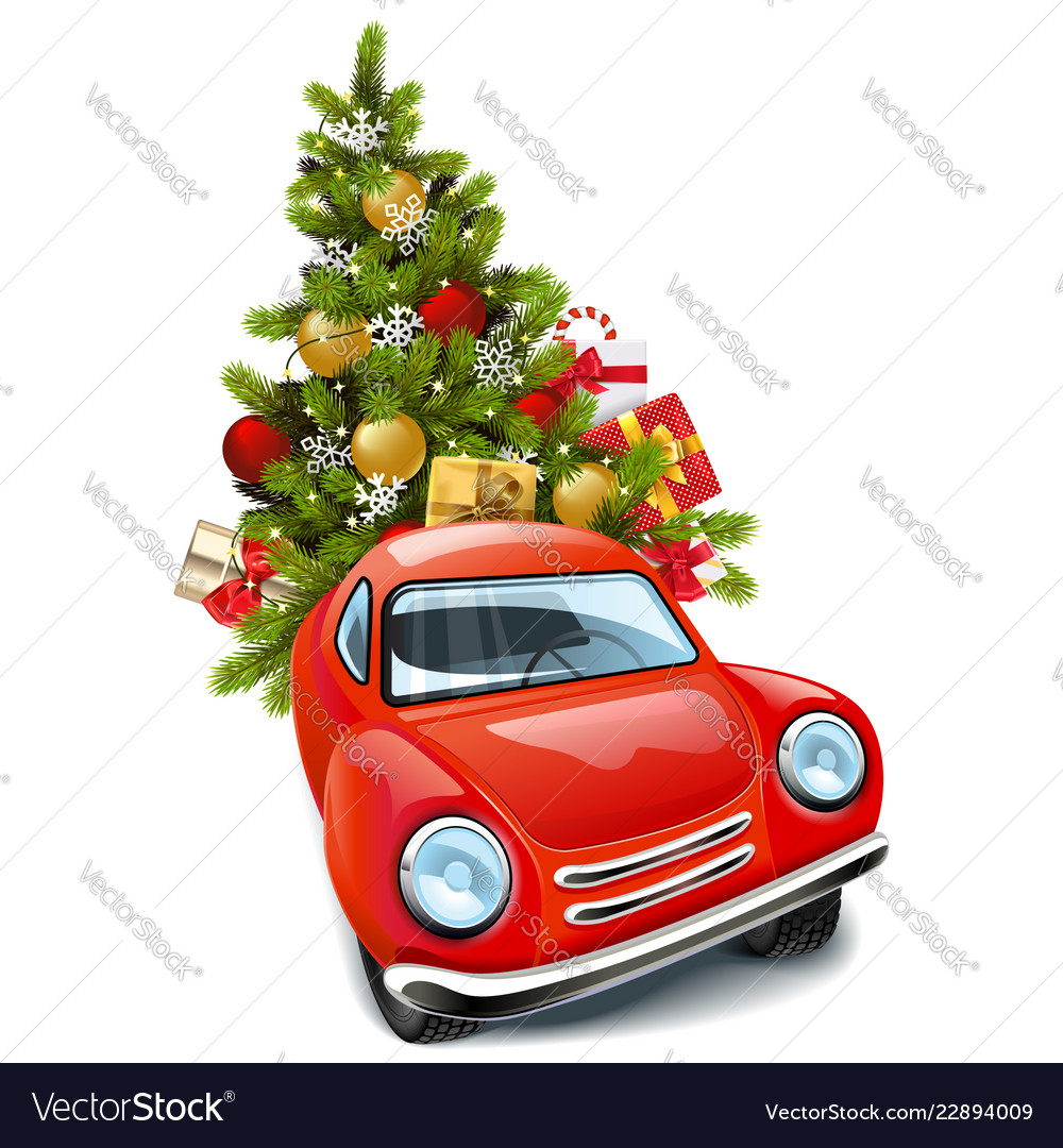Car Christmas.Red Car With Christmas Tree