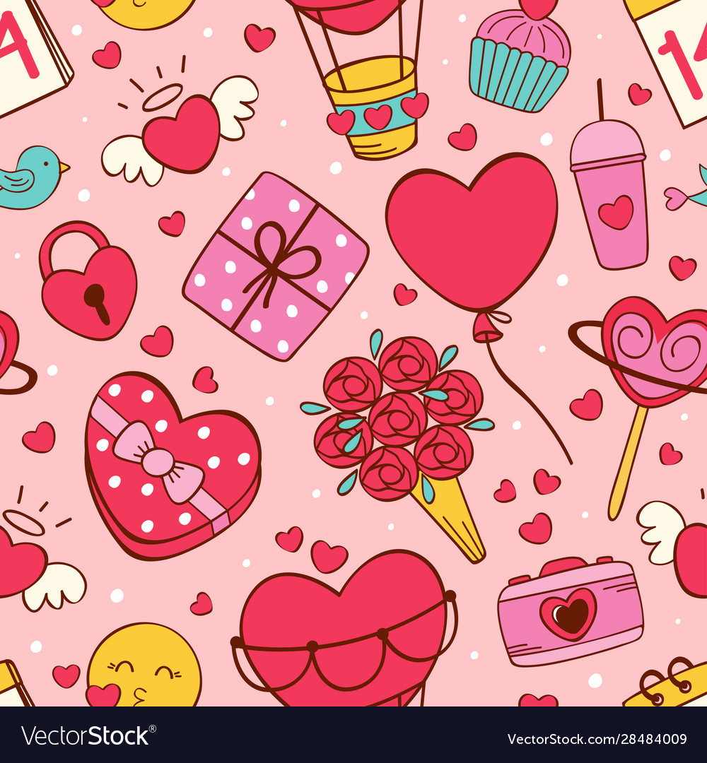 Seamless pattern with love icons