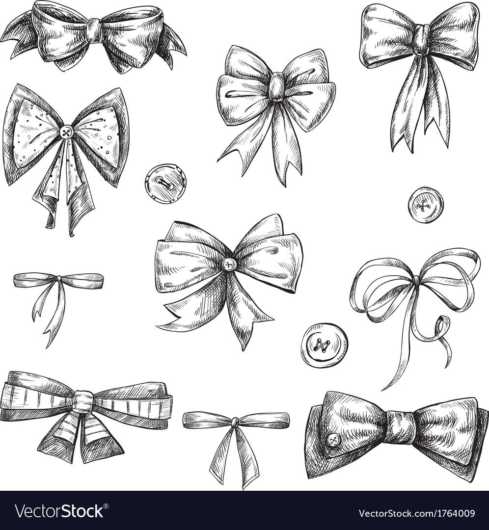 Set of bows hand drawn
