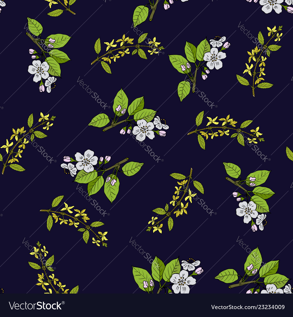 Spring blossom seamless pattern