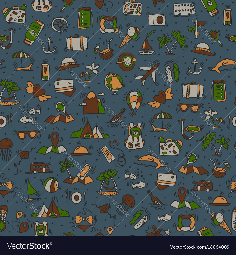 Travel and summer seamless pattern journey and
