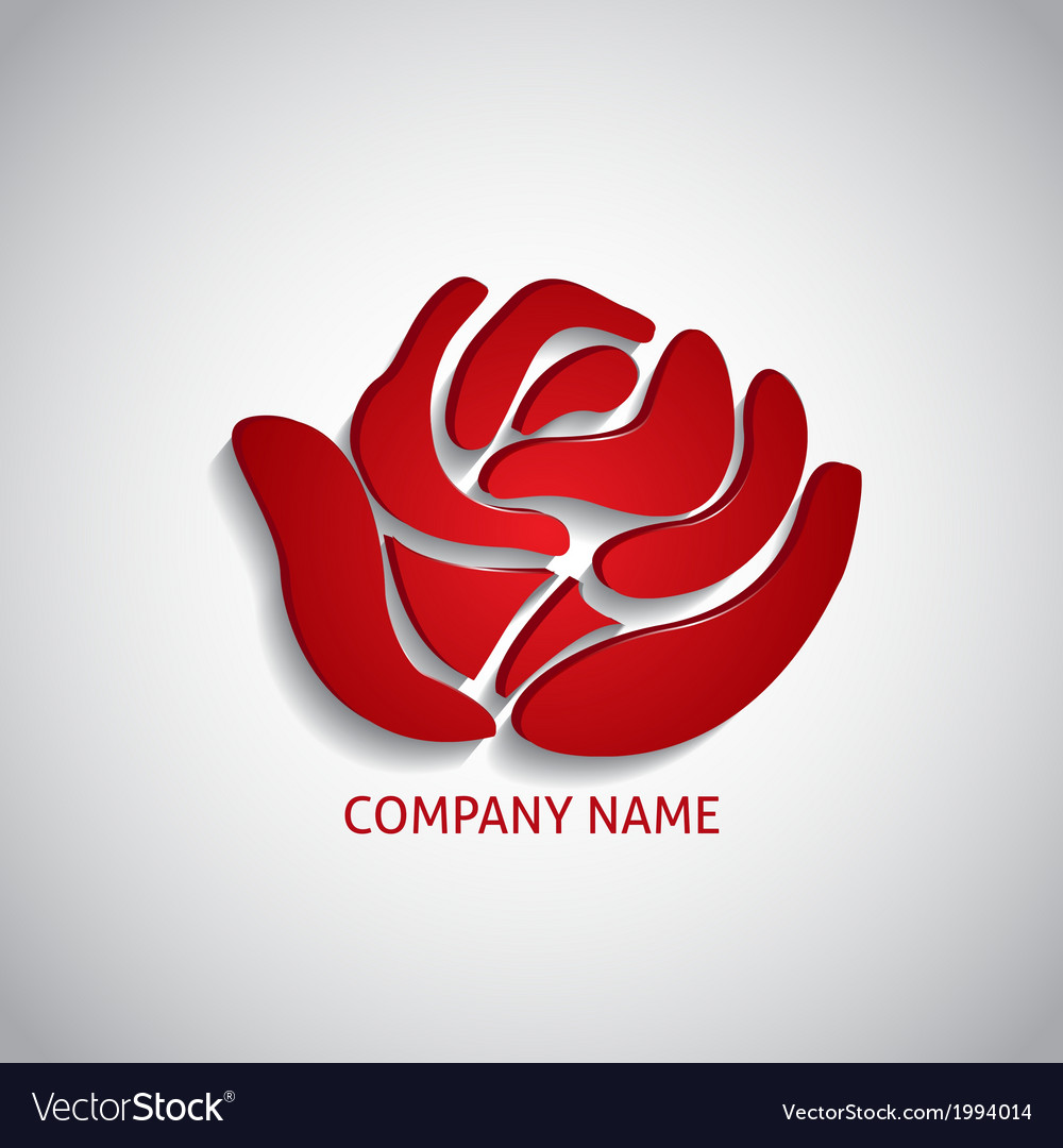 Company logo red rose vector image