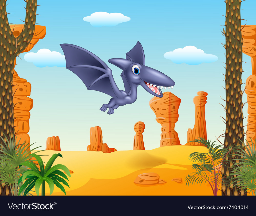 Cute bird pterodactyl flying with prehistoric