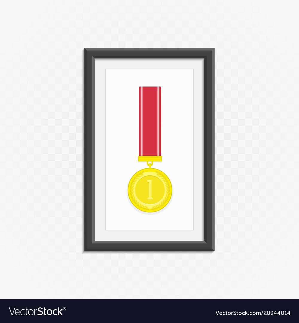 Gold medal in frame