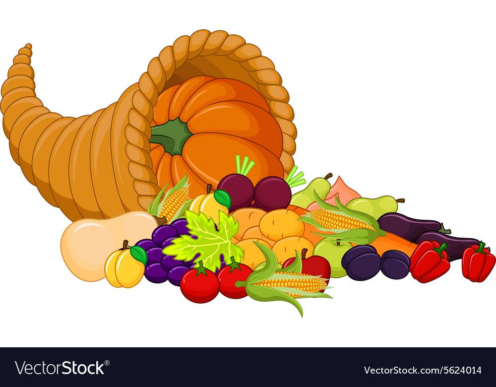 Harvest cornucopia vector image