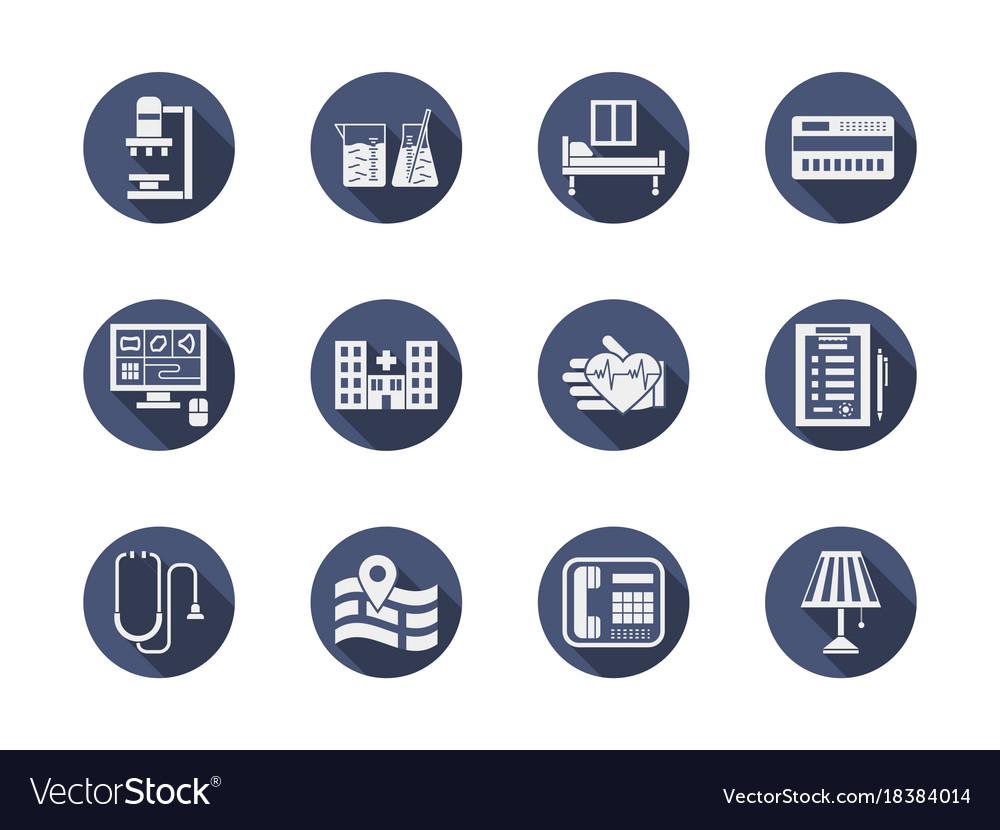 Hospital blue flat icons set