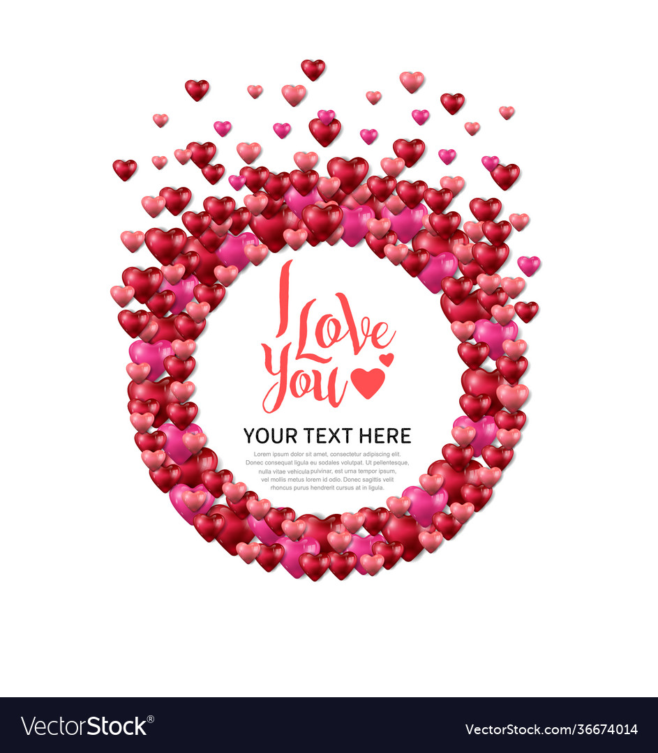 I love you with love circle on white background