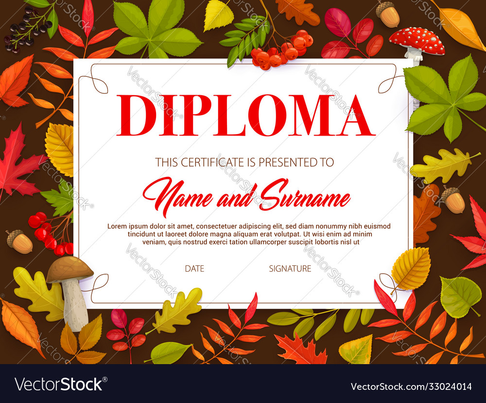 Kids certificate with autumn leaves and mushrooms