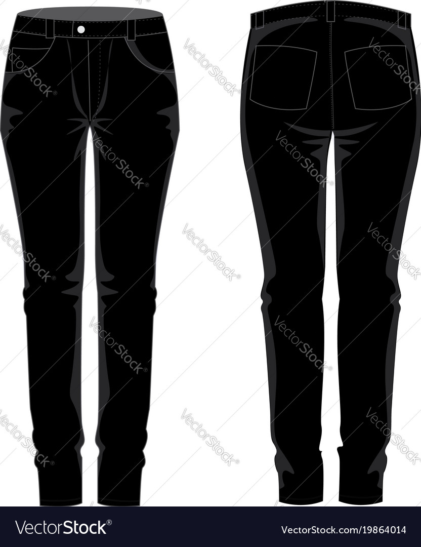 ladies traousers jean template mock up royalty free vector