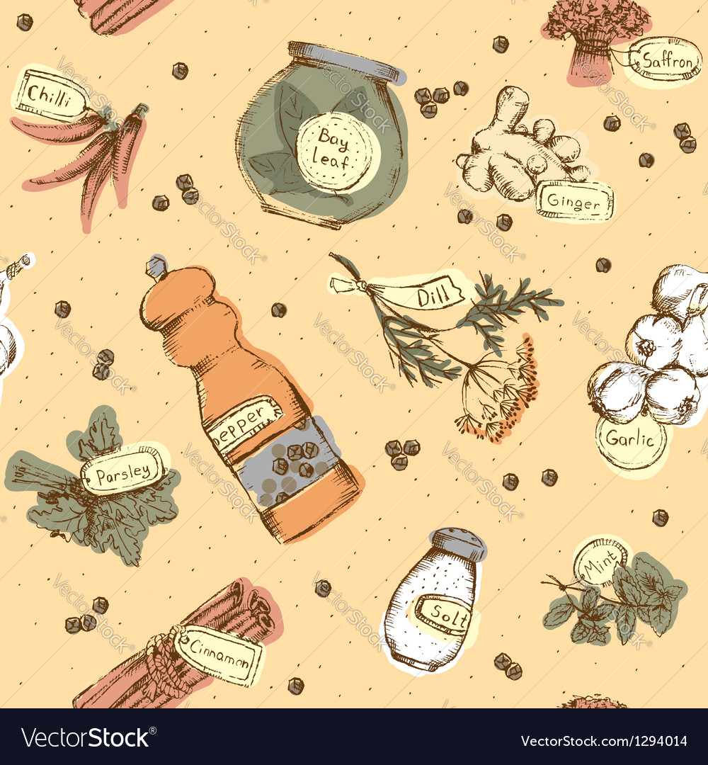 Seamless pattern of spices and herbs vector image