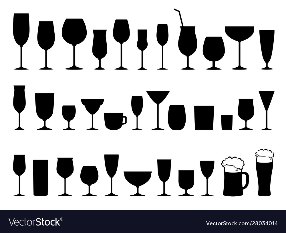 Set black wine alcohol glasses silhouettes