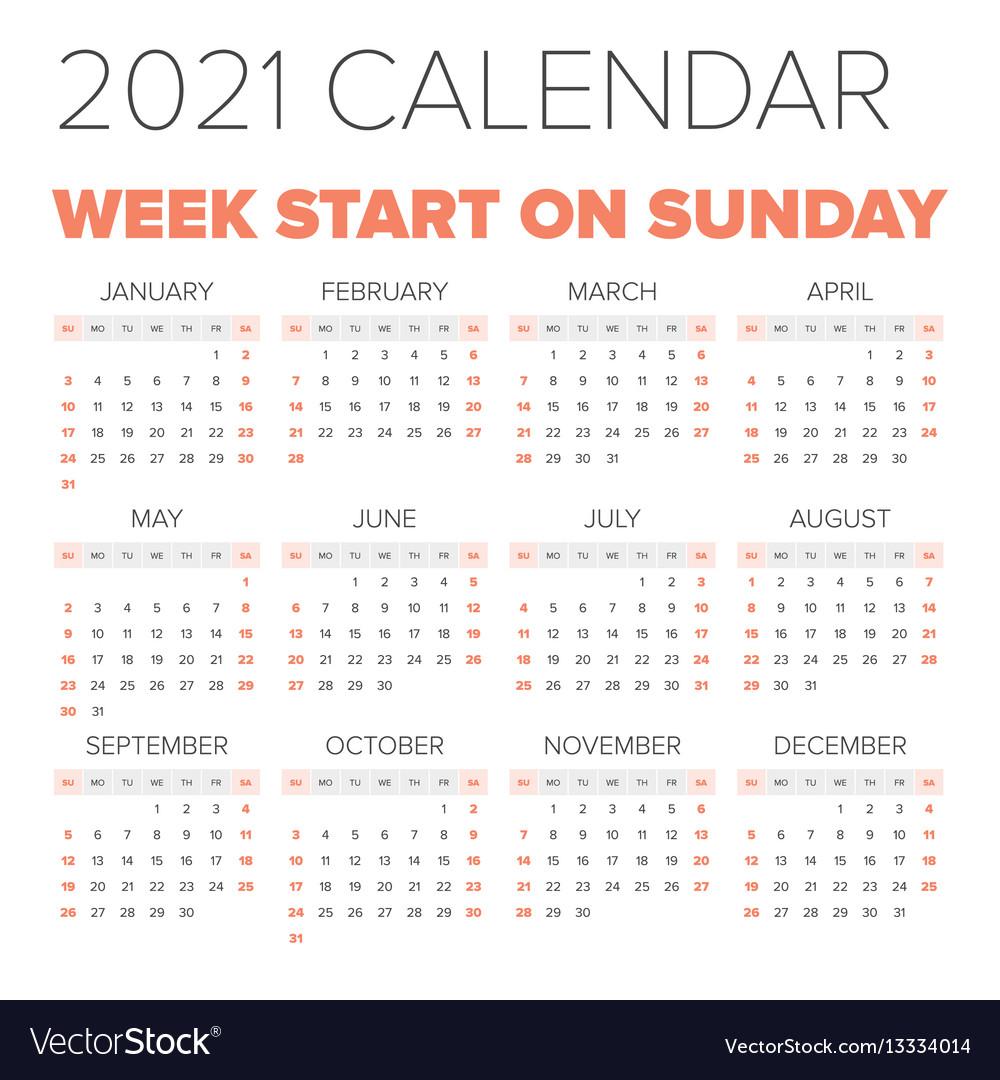 Simple 2021 year calendar Royalty Free Vector Image