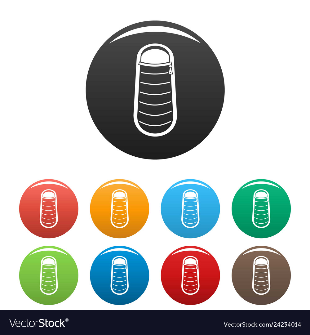 Sleep bag icons set color
