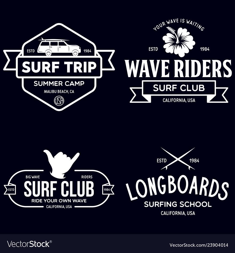 Vintage surfing emblems for web design or print