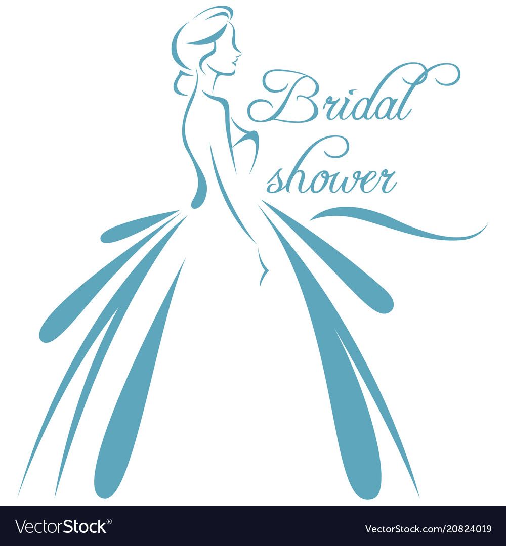 A silhouette of a bride in a