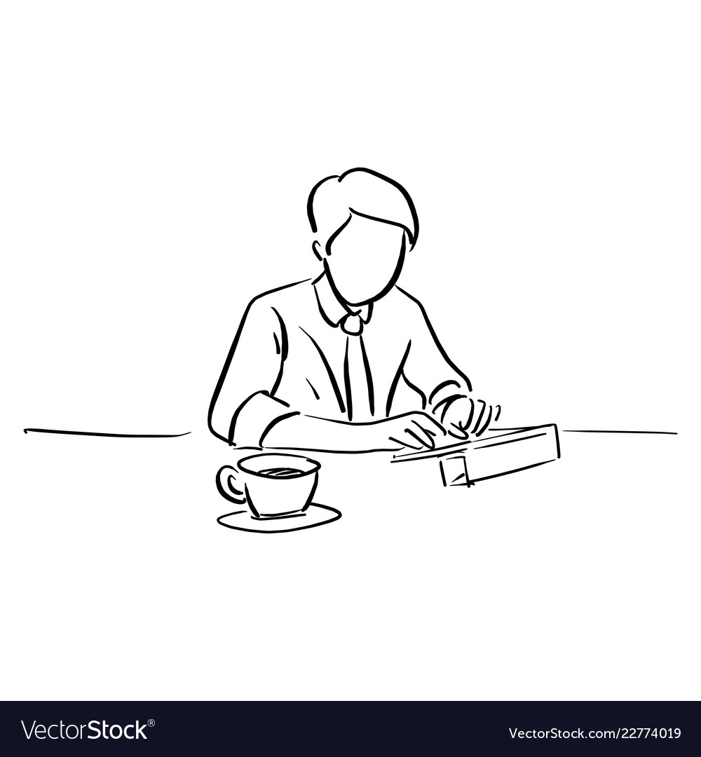 Businessman working with tablet on his desk