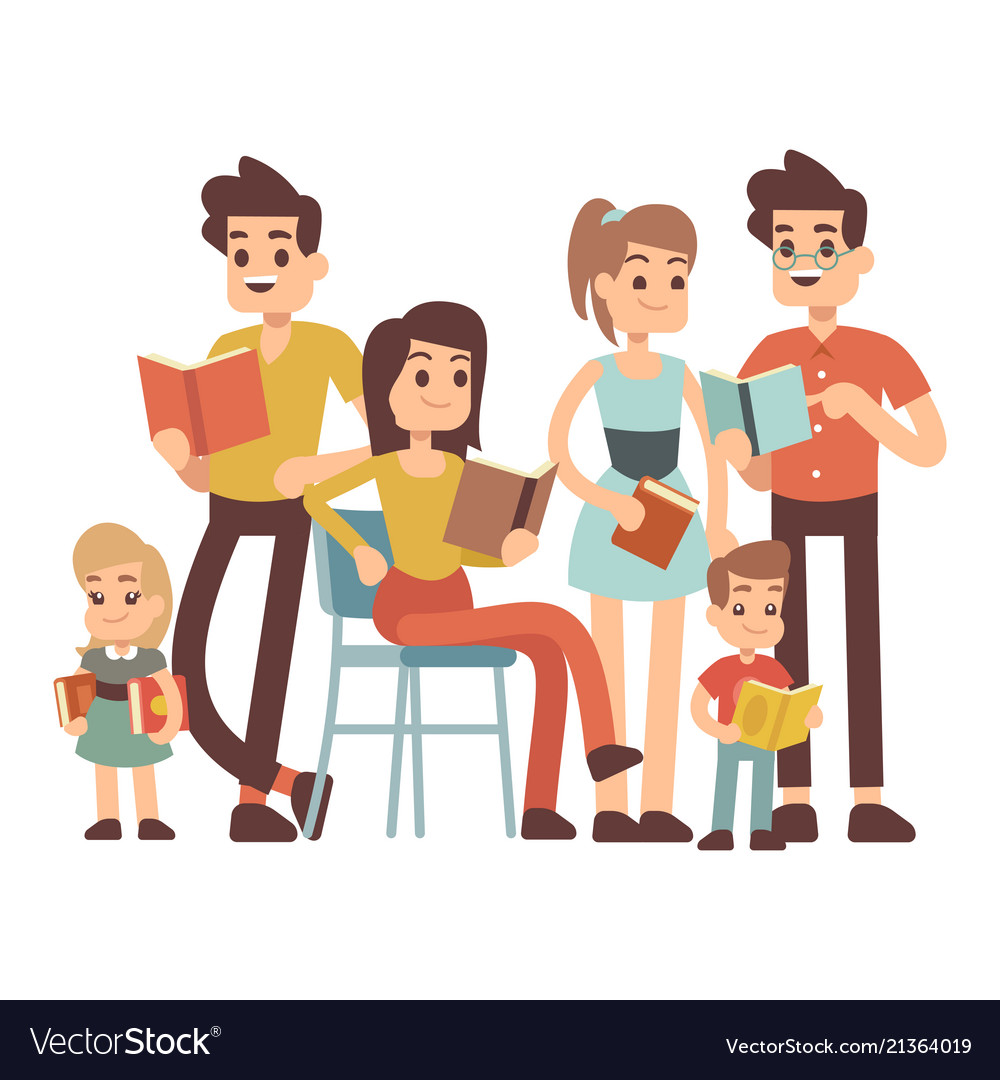 Cartoon character kids and adults with books