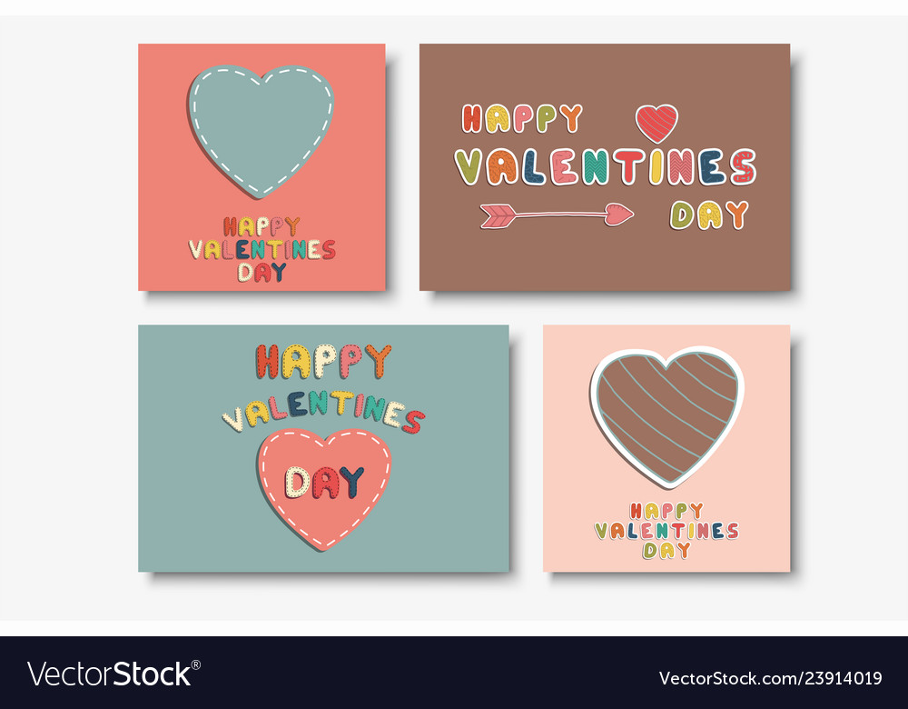 Collection of cute happy valentines day