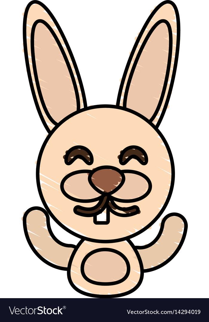 Draw rabbit animal comic vector image