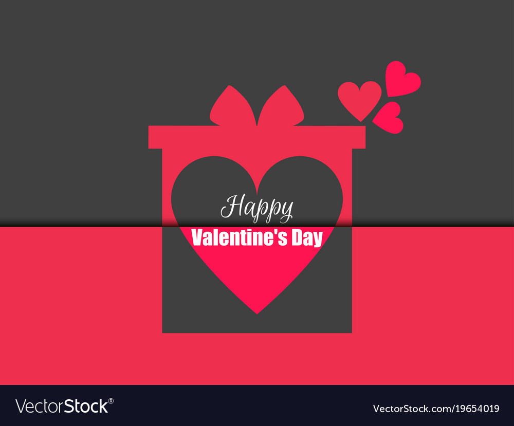 Happy Valentines Day Gift Box With Hearts Vector Image