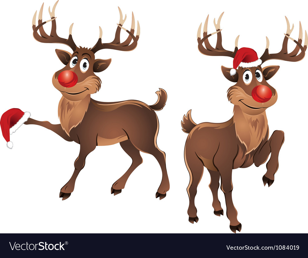 Rudolph The Reindeer with Christmas Hat vector image