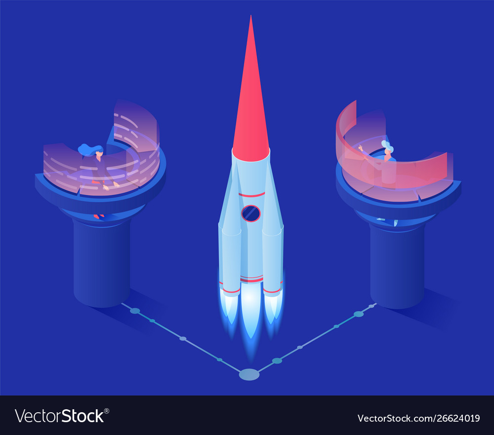 Space rocket launch isometric