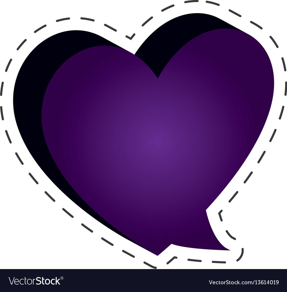 Speech bubble heart shape cut line