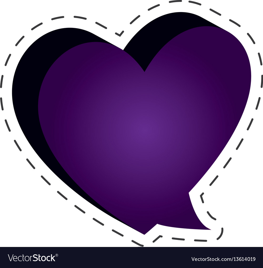 Speech bubble heart shape cut line vector image