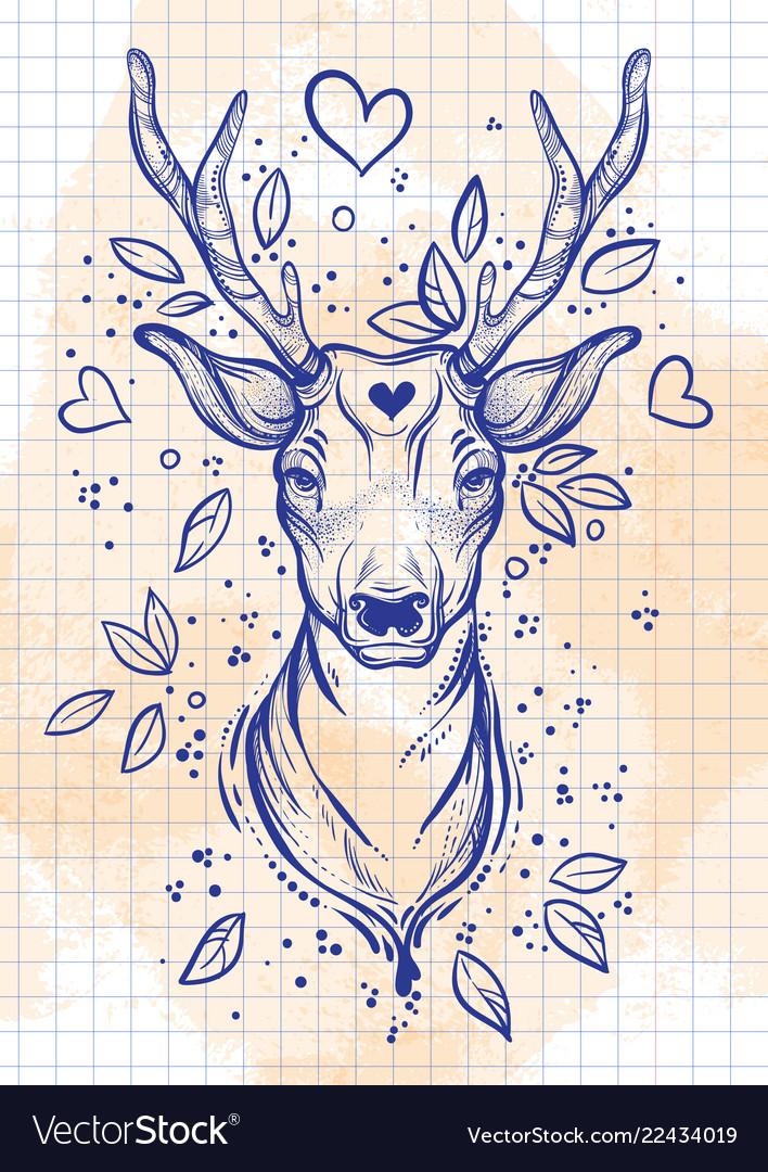 Vintage sketch style beautibul deer head