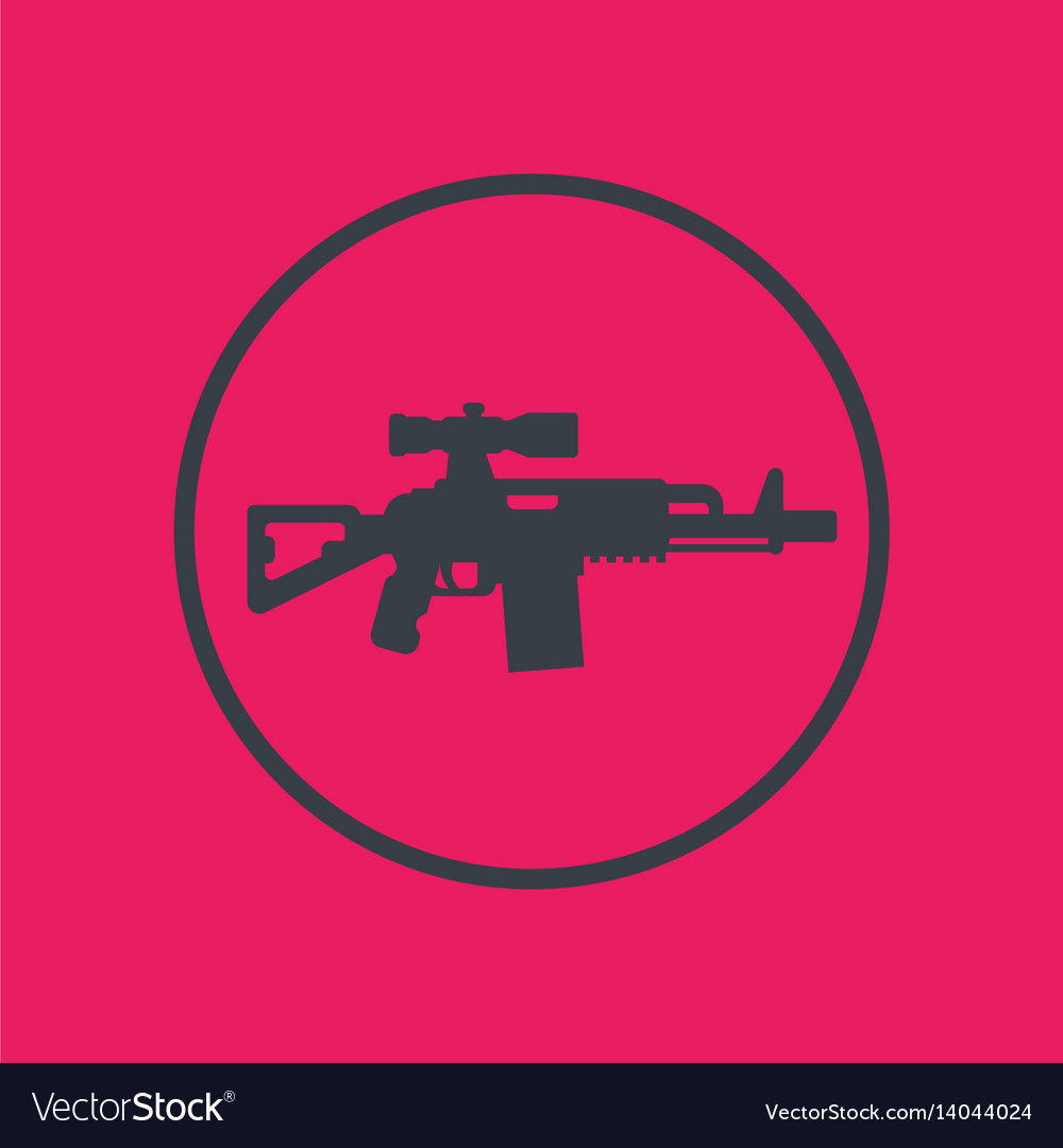 Assault rifle icon gun with optical sight