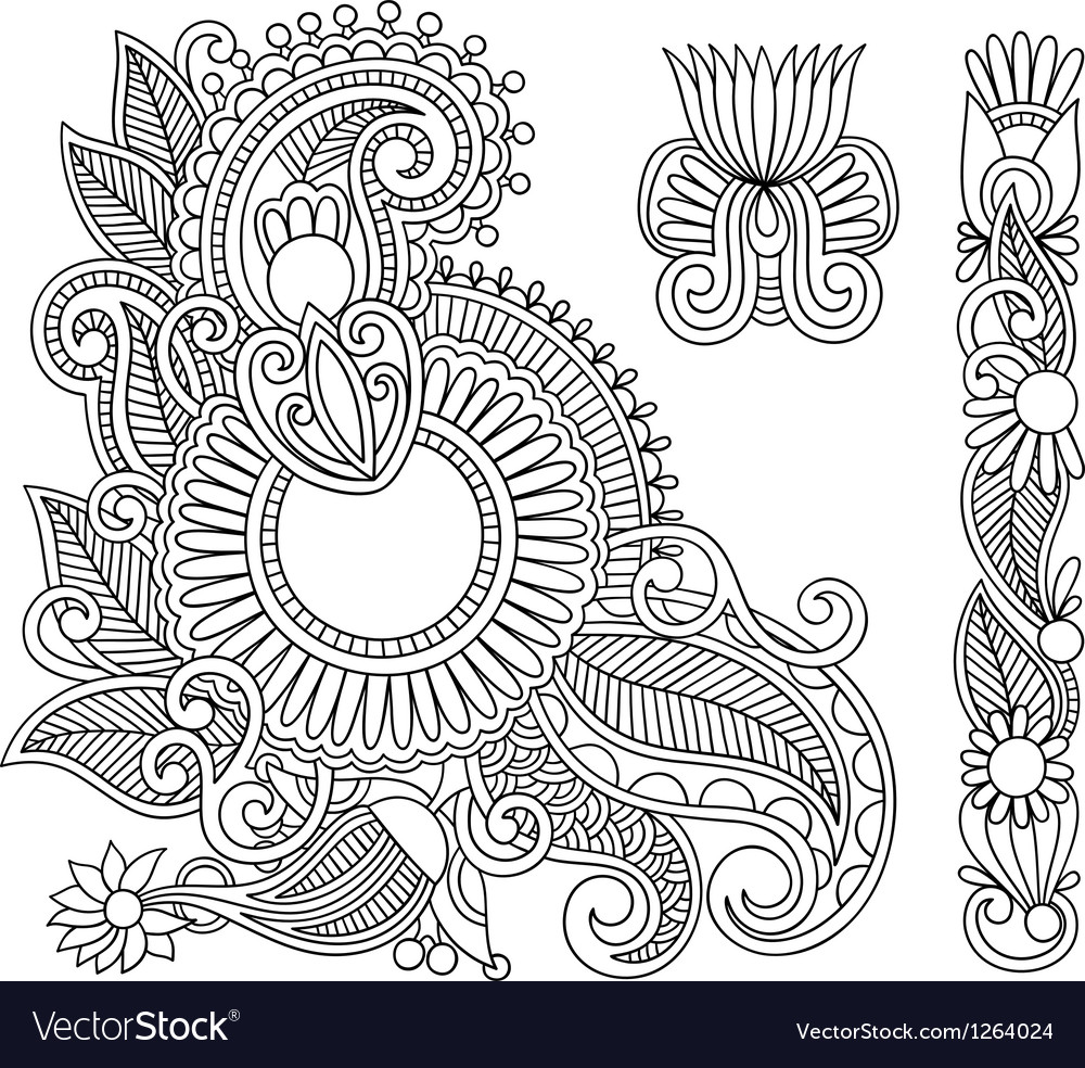 Black flower doodle design elemen vector image